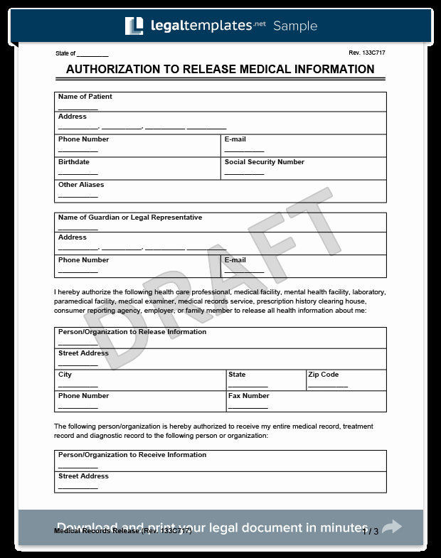 Medical Release form Template New Medical Records Release form