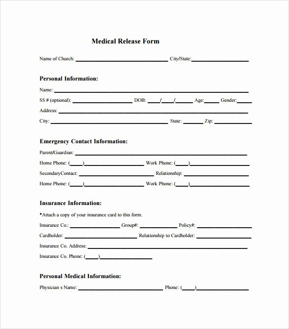 Medical Release form Template New Sample Medical Release form 10 Free Documents In Pdf Word
