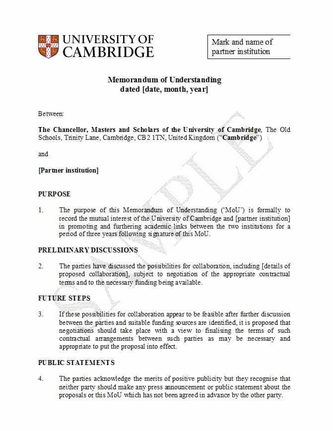 Memorandum Of Understanding Sample Elegant 50 Free Memorandum Of Understanding Templates [word]