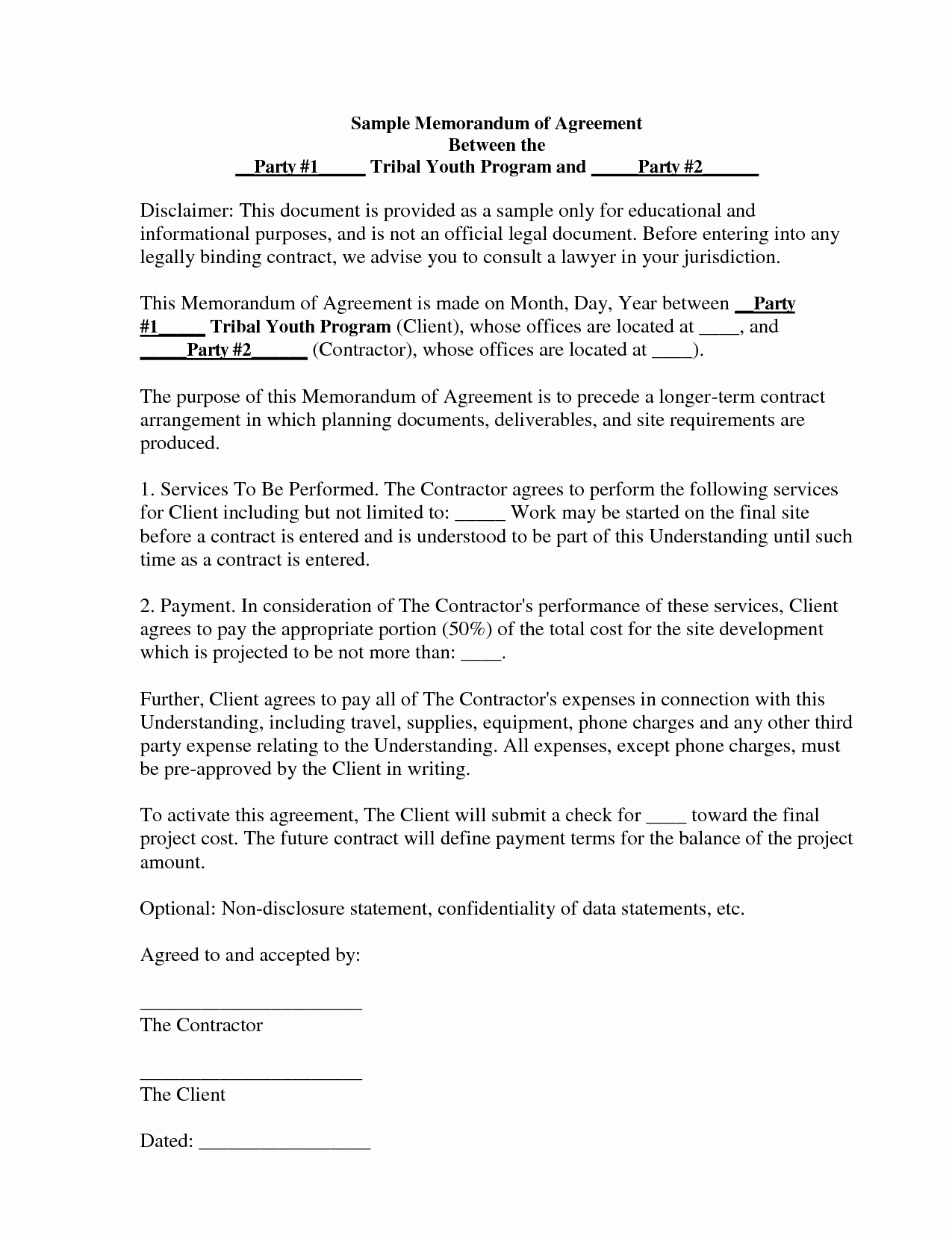 Memorandum Of Understanding Sample Elegant Best S Of Memorandum Agreement Sample Sample