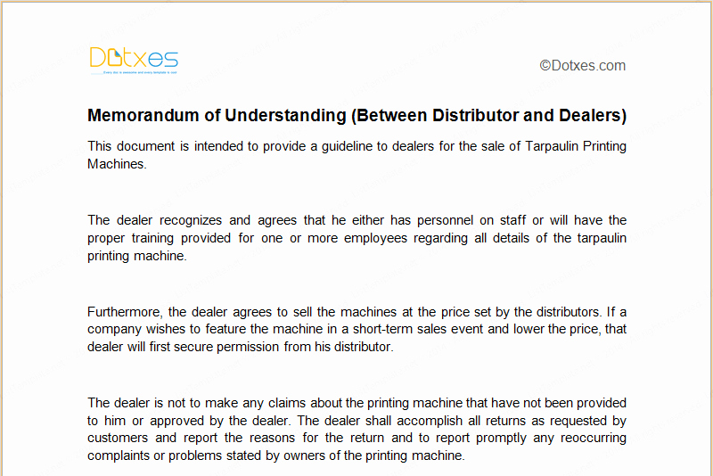Memorandum Of Understanding Sample Elegant Mou Template Between Distributor and Dealers Dotxes
