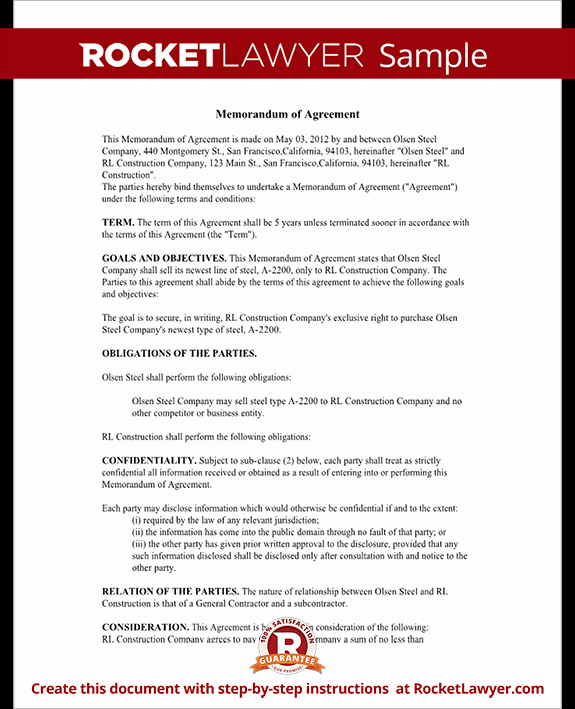 Memorandum Of Understanding Sample Fresh Memorandum Of Agreement Moa form Cooperative Agreement