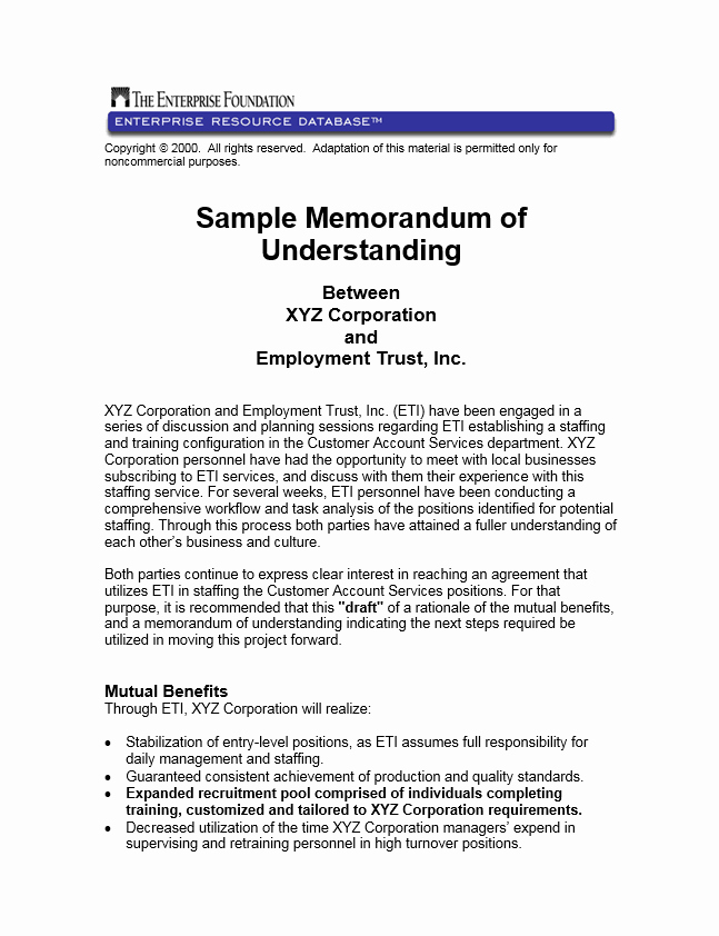 Memorandum Of Understanding Sample Inspirational Sample Memorandum Of Understanding Between Xyz Corporation