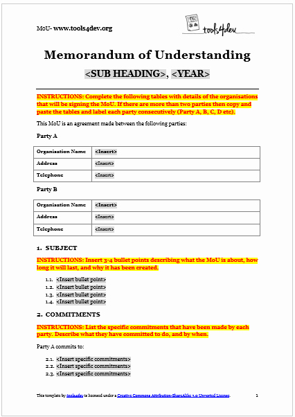 Memorandum Of Understanding Sample Luxury Memorandum Of Understanding Mou Template