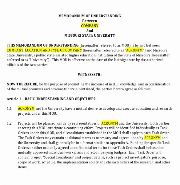 Memorandum Of Understanding Sample New Memorandum Of Understanding Template 20 Word Pdf