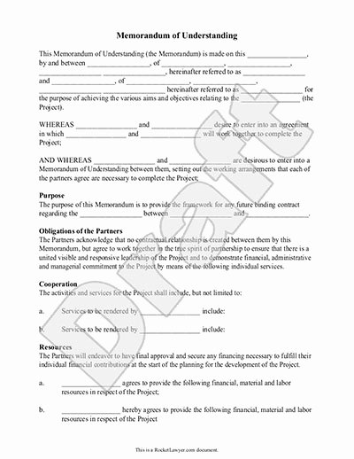 Memorandum Of Understanding Sample Unique Memorandum Of Understanding form Mou Template with Sample