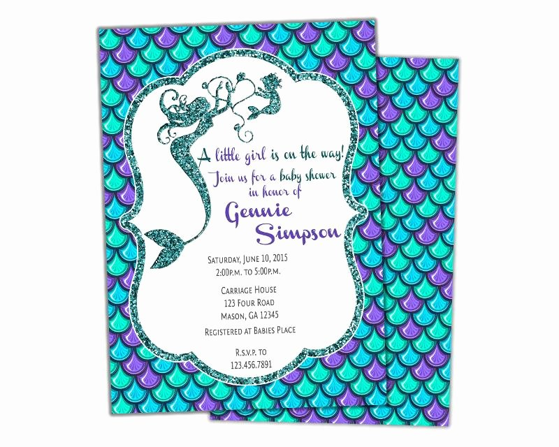 Mermaid Baby Shower Invitations Awesome Glitter Mermaid Baby Shower Invitations Girl