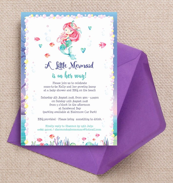 Mermaid Baby Shower Invitations Beautiful Mermaid Baby Shower Invitation From £0 80 Each