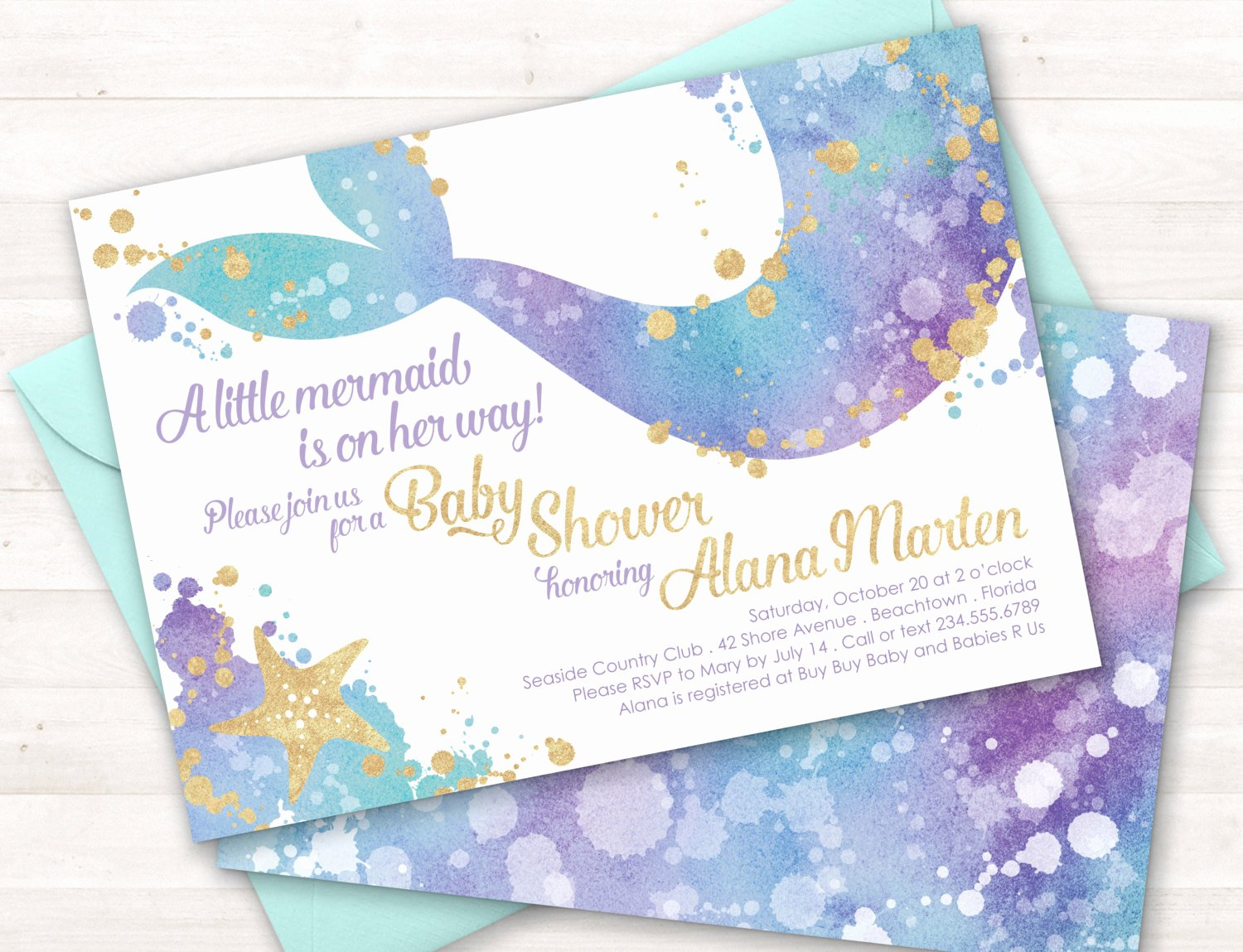 mermaid baby shower invitation mermaid