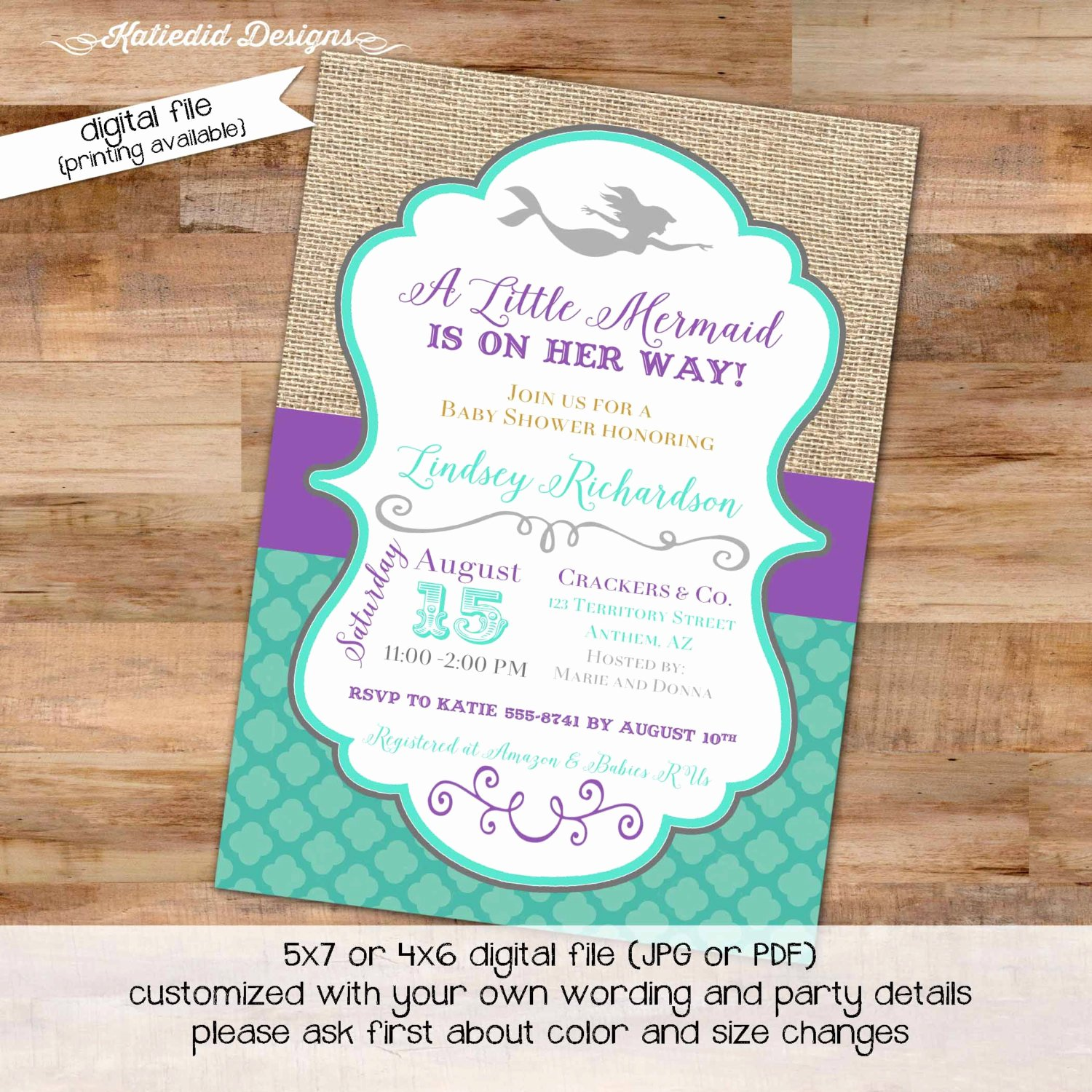 Mermaid Baby Shower Invitations Beautiful Mermaid Invitation Couples Baby Shower Purple Teal 1st