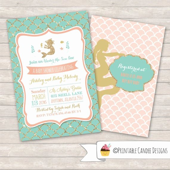 Mermaid Baby Shower Invitations Best Of Mermaid Baby Shower Invitation Mermaid Baby by Printablecandee