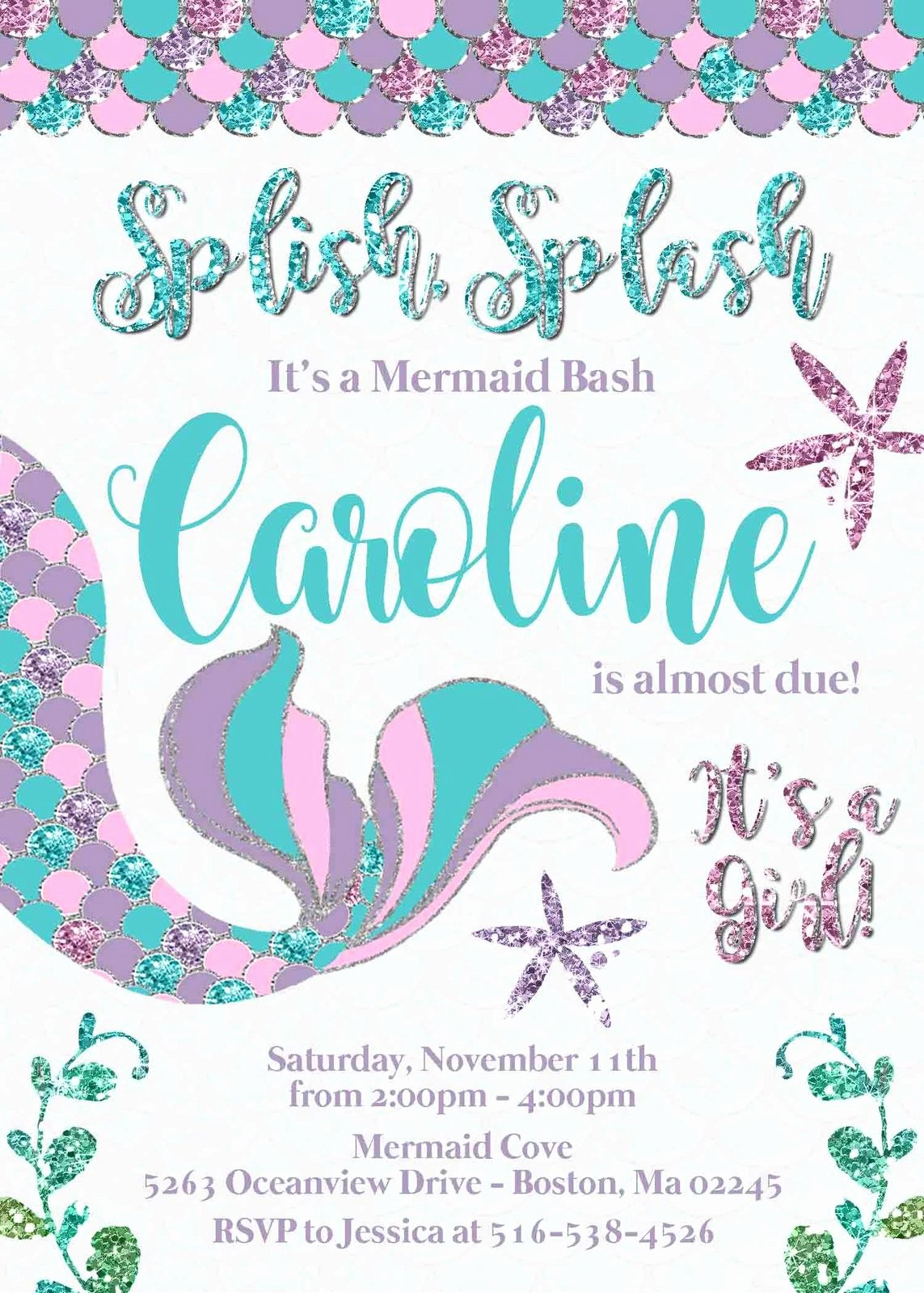 Mermaid Baby Shower Invitations Best Of Mermaid Baby Shower Invitation Teal Lavender Pink