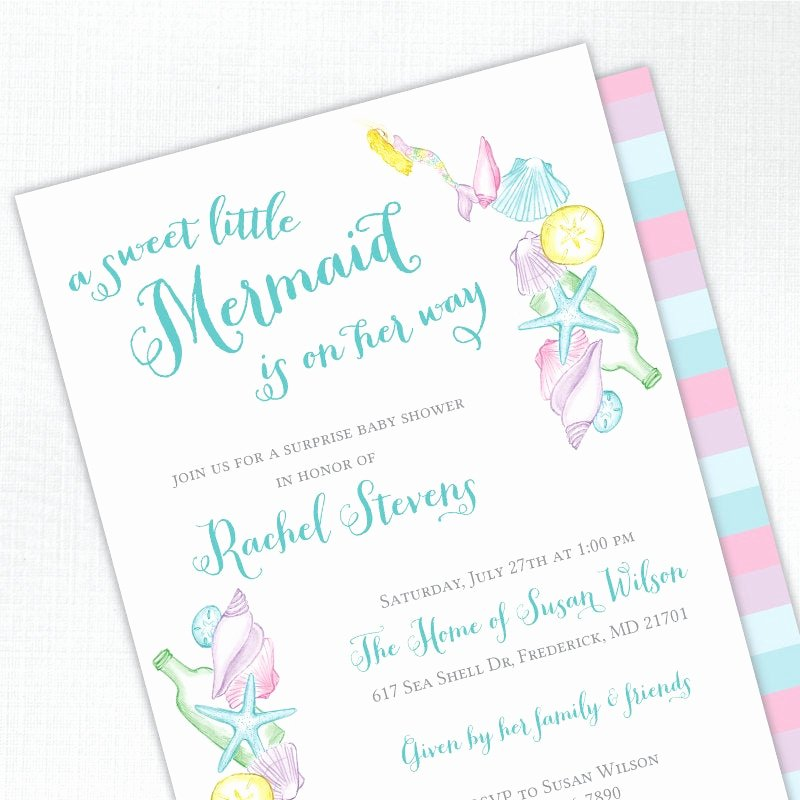 Mermaid Baby Shower Invitations Elegant Mermaid Baby Shower Invitation Girl Baby Shower Invites