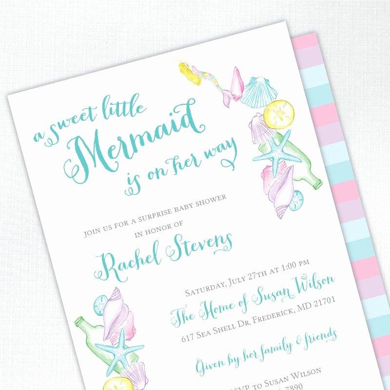 Mermaid Baby Shower Invitations Elegant Mermaid Baby Shower Invitation Girl Baby Shower Invites