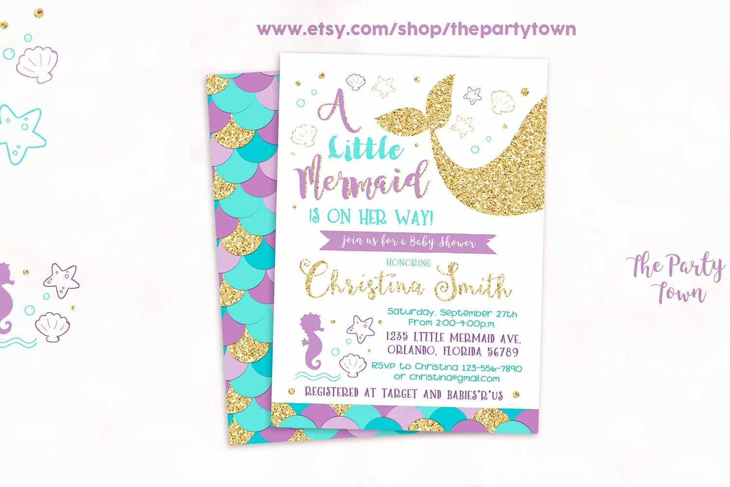 Mermaid Baby Shower Invitations Elegant Mermaid Baby Shower Invitation Little Mermaid Baby Shower