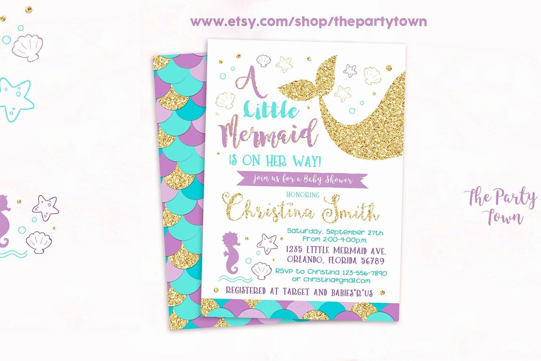 Mermaid Baby Shower Invitations Elegant Mermaid Baby Shower Invitation Little Mermaid Baby Shower