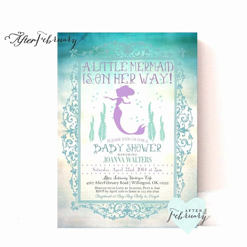 Mermaid Baby Shower Invitations Elegant Mermaid Baby Shower Invitation Summer Baby Shower Invites