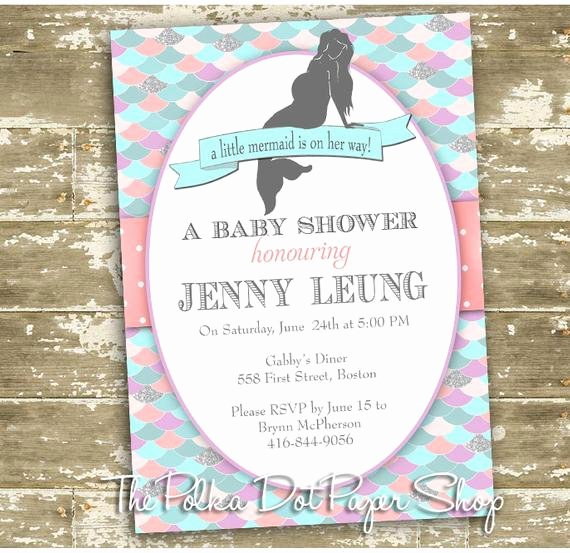 Mermaid Baby Shower Invitations Elegant Mermaid Invitations Mermaid Baby Shower Mermaid Birthday