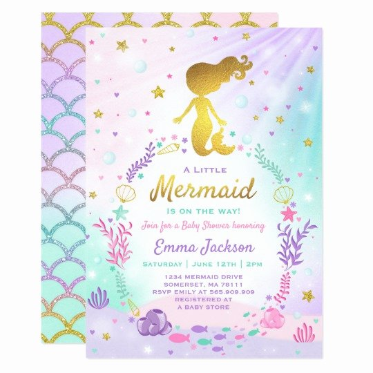 Mermaid Baby Shower Invitations Fresh Mermaid Baby Shower Invitation Little Mermaid Baby