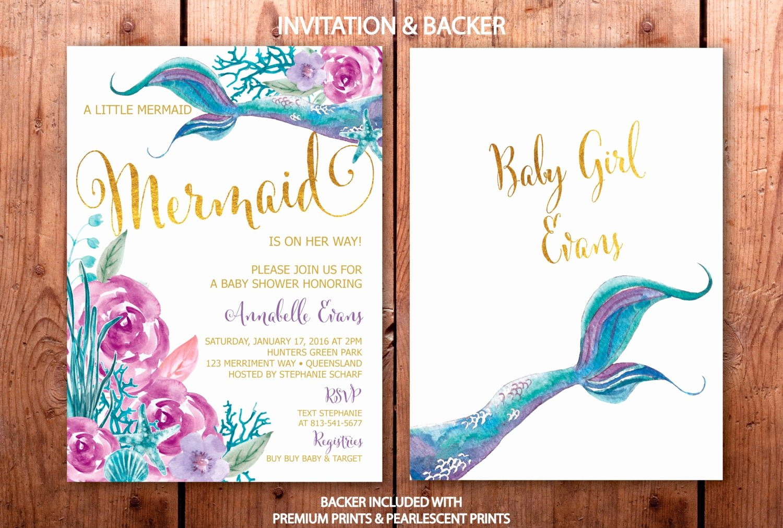 Mermaid Baby Shower Invitations Fresh Mermaid Baby Shower Invitation Under the Sea Invitation