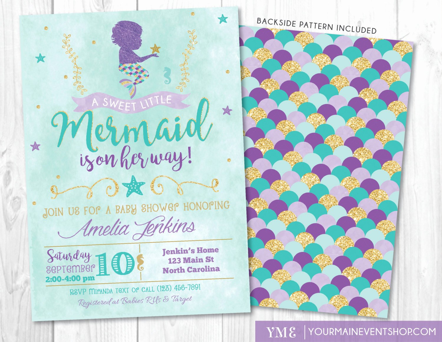 Mermaid Baby Shower Invitations Inspirational Mermaid Baby Shower Invitation Little Mermaid Invite Under