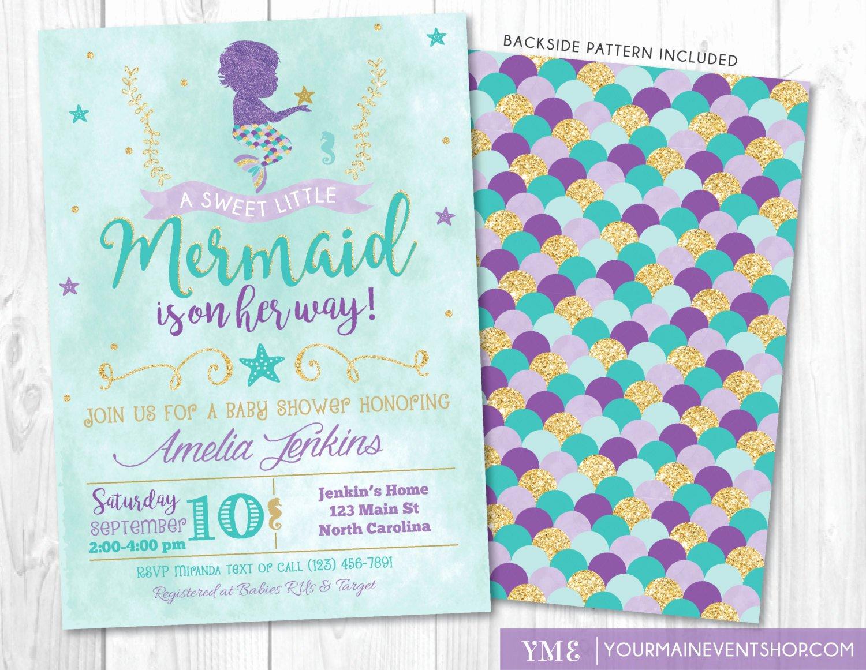 Mermaid Baby Shower Invitations Inspirational Mermaid Baby Shower Invitation Little Mermaid Invite Under