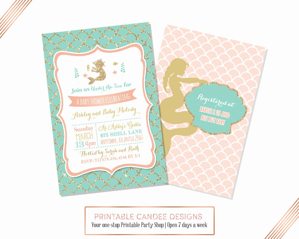 Mermaid Baby Shower Invitations Inspirational Mermaid Baby Shower Invitation Mermaid Baby Shower Coral