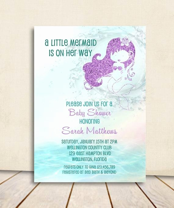 Mermaid Baby Shower Invitations Inspirational Mermaid Baby Shower Invitation Turquoise and Purple Glitter