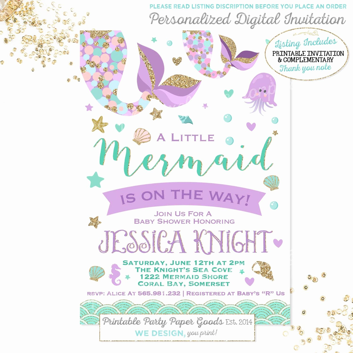 Mermaid Baby Shower Invitations Lovely Mermaid Baby Shower Invitation Little Mermaid Baby Shower