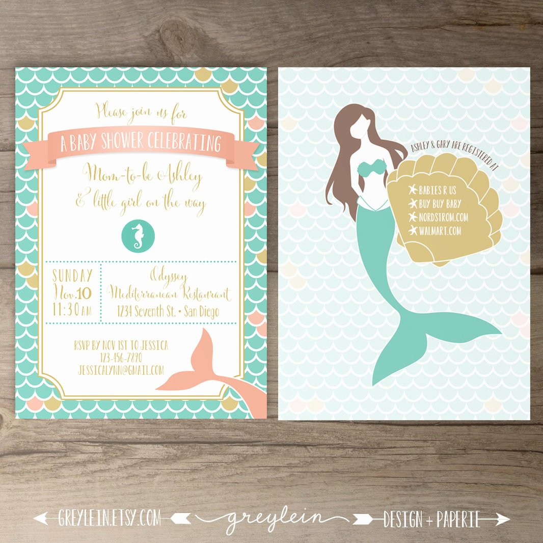 Mermaid Baby Shower Invitations Lovely Mermaid Baby Shower Invitations Birthday Mermaid Seashell
