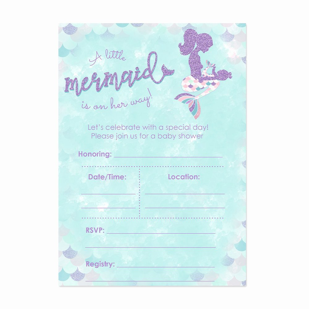 Mermaid Baby Shower Invitations Luxury Amazon Mermaid Baby Shower Invitation Blue and Gold