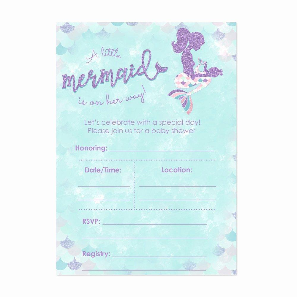 Mermaid Baby Shower Invitations Luxury Amazon Mermaid Baby Shower Invitation Blue and Gold