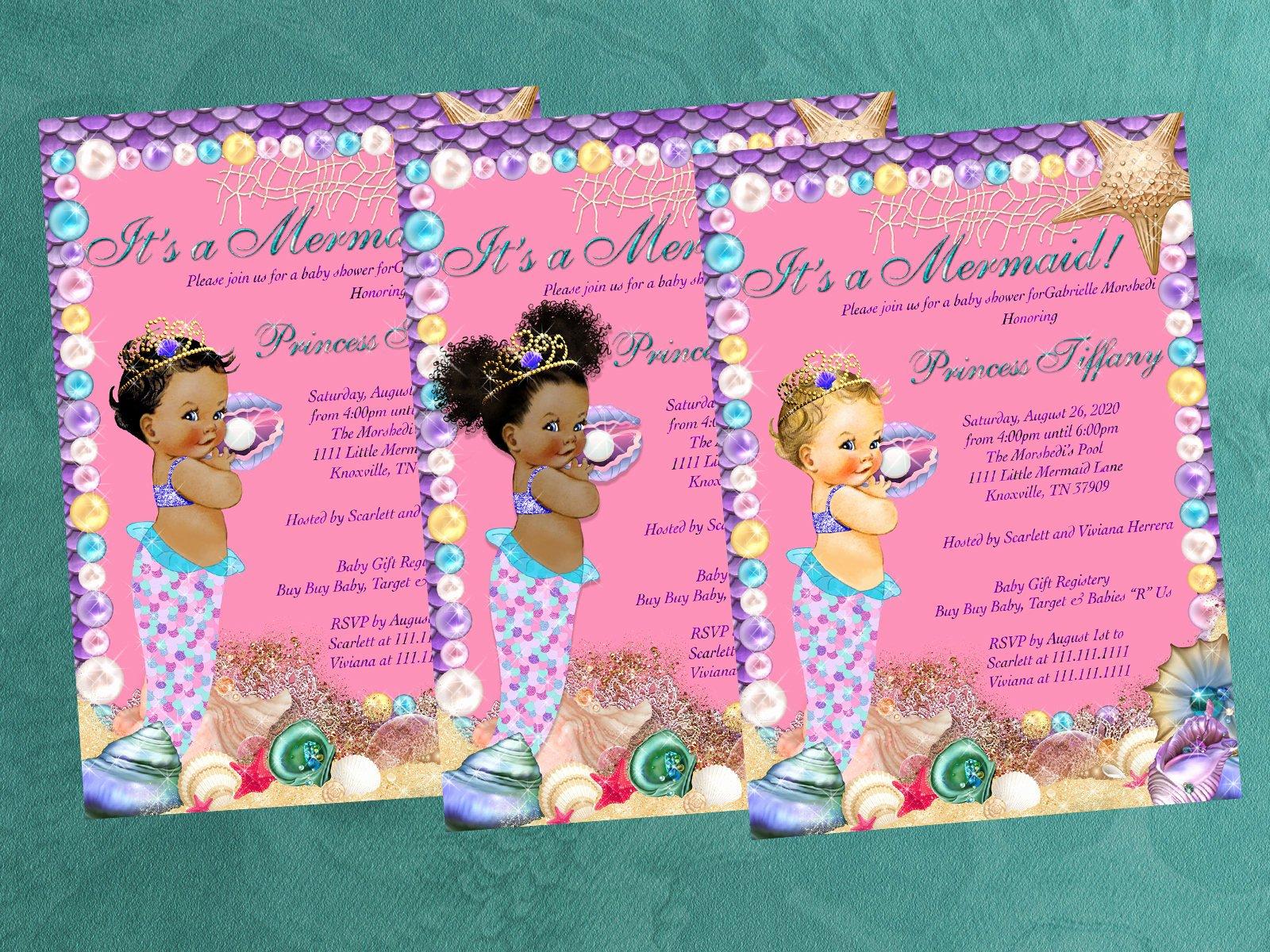 Mermaid Baby Shower Invitations Luxury Baby Shower Invitation Mermaid Baby Shower Mermaid
