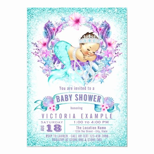 Mermaid Baby Shower Invitations Luxury Cute Baby Mermaid Baby Shower Invitations