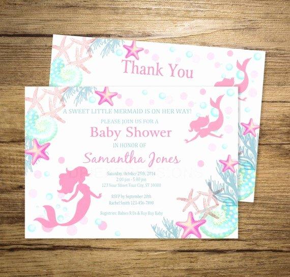 Mermaid Baby Shower Invitations Luxury Mermaid Baby Shower Invitation Printable Mermaid by
