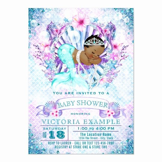Mermaid Baby Shower Invitations New Ethnic Mermaid Baby Shower Invitations