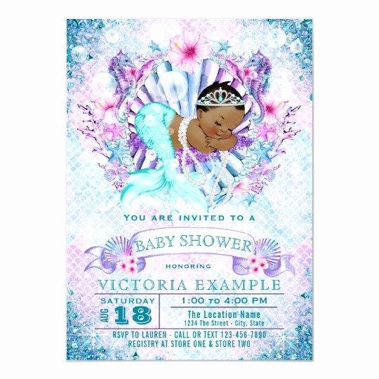 Mermaid Baby Shower Invitations New Ethnic Mermaid Baby Shower Invitations