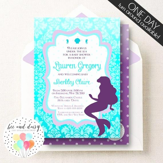 Mermaid Baby Shower Invitations New Little Mermaid Baby Shower Invitation Little by Beeanddaisy