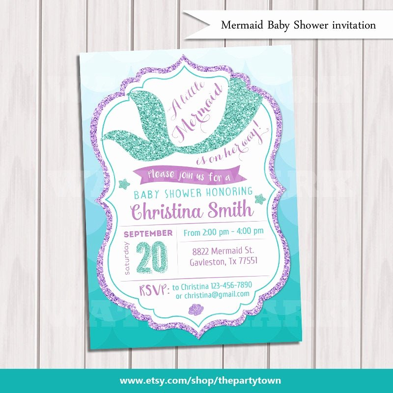 Mermaid Baby Shower Invitations New Mermaid Baby Shower Invitation Little Mermaid Baby Shower