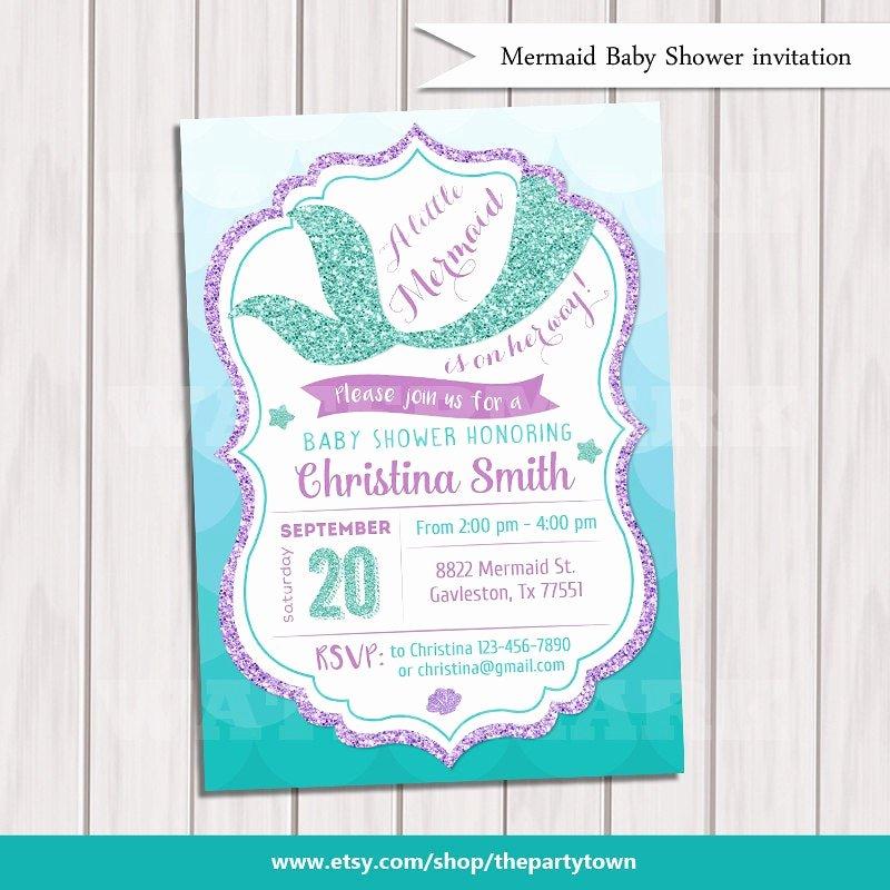 Mermaid Baby Shower Invitations New Mermaid Baby Shower Invitation Little Mermaid Baby Shower