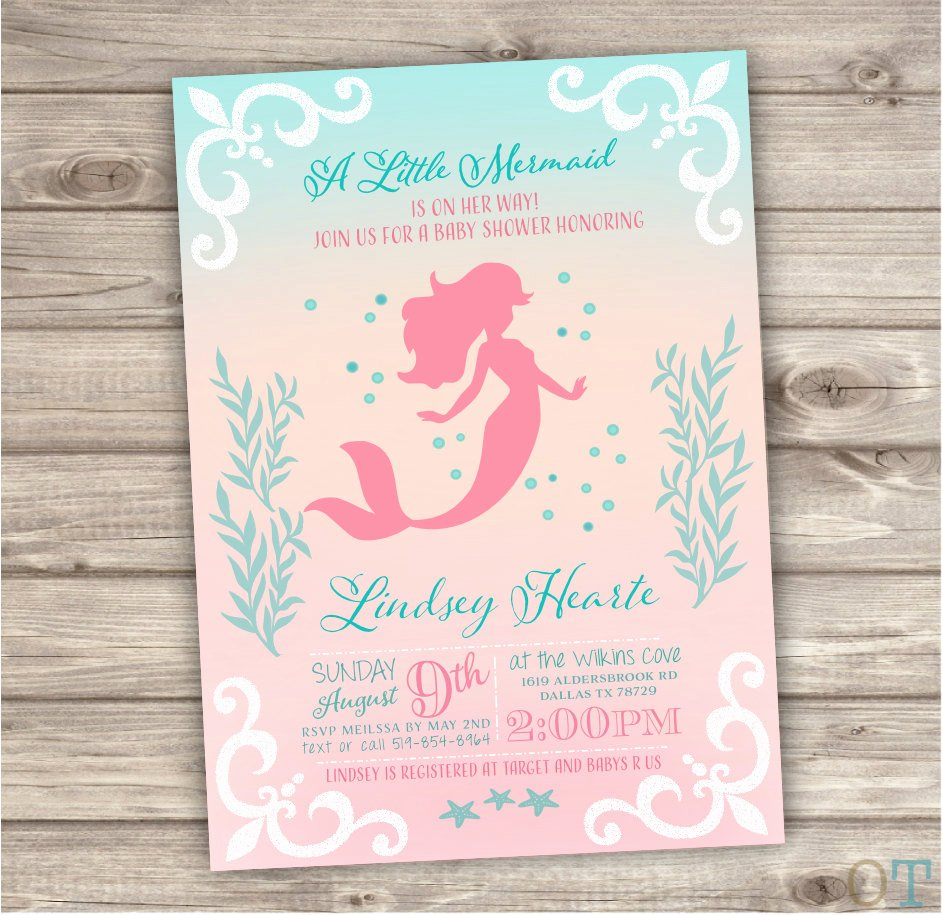 Mermaid Baby Shower Invitations New Printable Mermaid Baby Shower Invitations Shabby Chic by