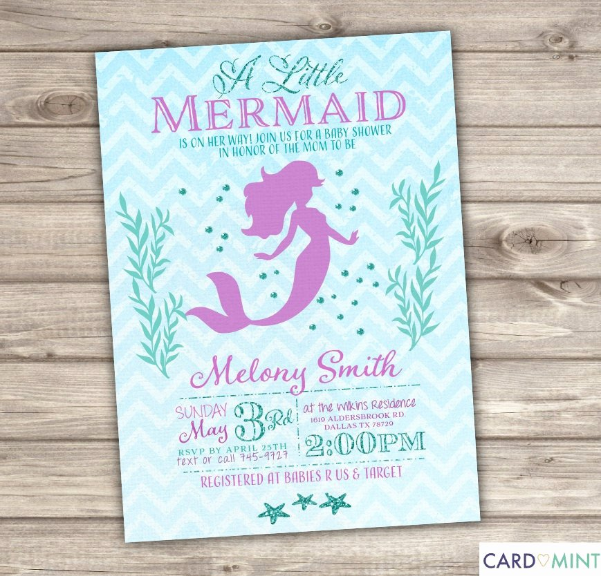 Mermaid Baby Shower Invitations Unique 50 Printed Mermaid Baby Shower Invitations Chevronlittle