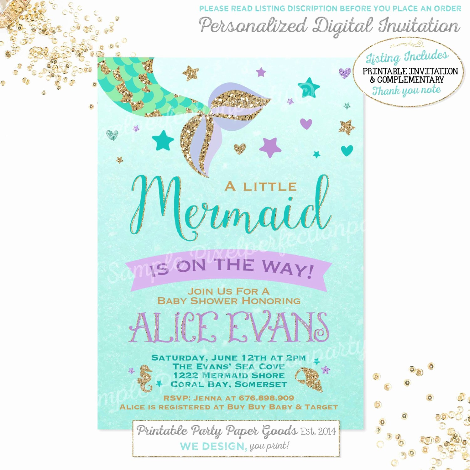 Mermaid Baby Shower Invitations Unique Mermaid Baby Shower Invitation Little Mermaid Baby Shower
