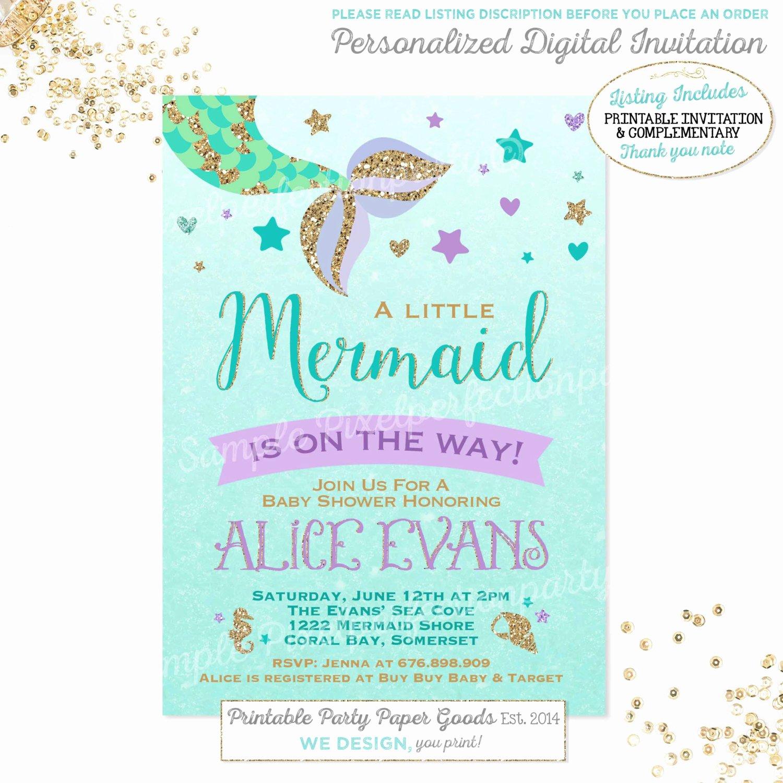 Mermaid Baby Shower Invitations Unique Mermaid Baby Shower Invitation Little Mermaid Baby Shower
