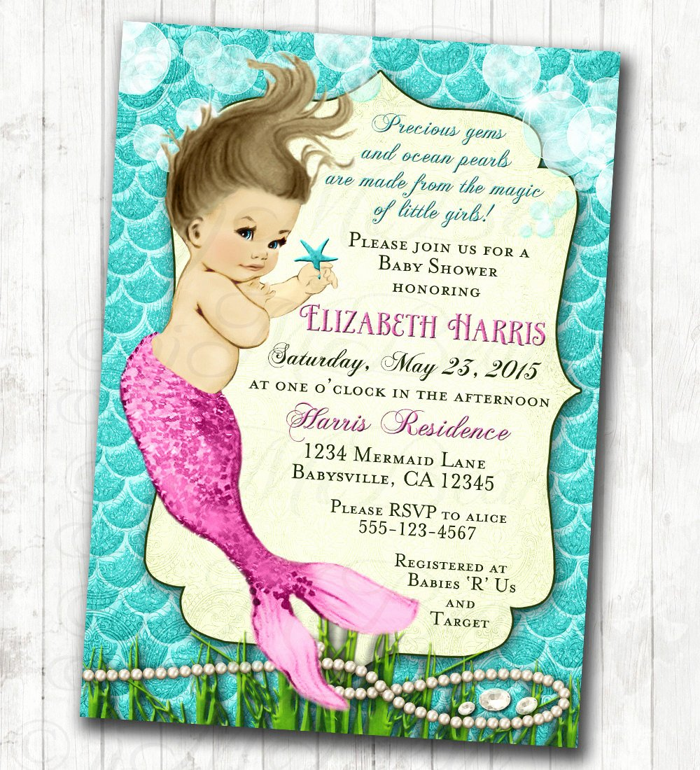 Mermaid Baby Shower Invitations Unique Mermaid Baby Shower Invitation Little Mermaid Ocean Baby