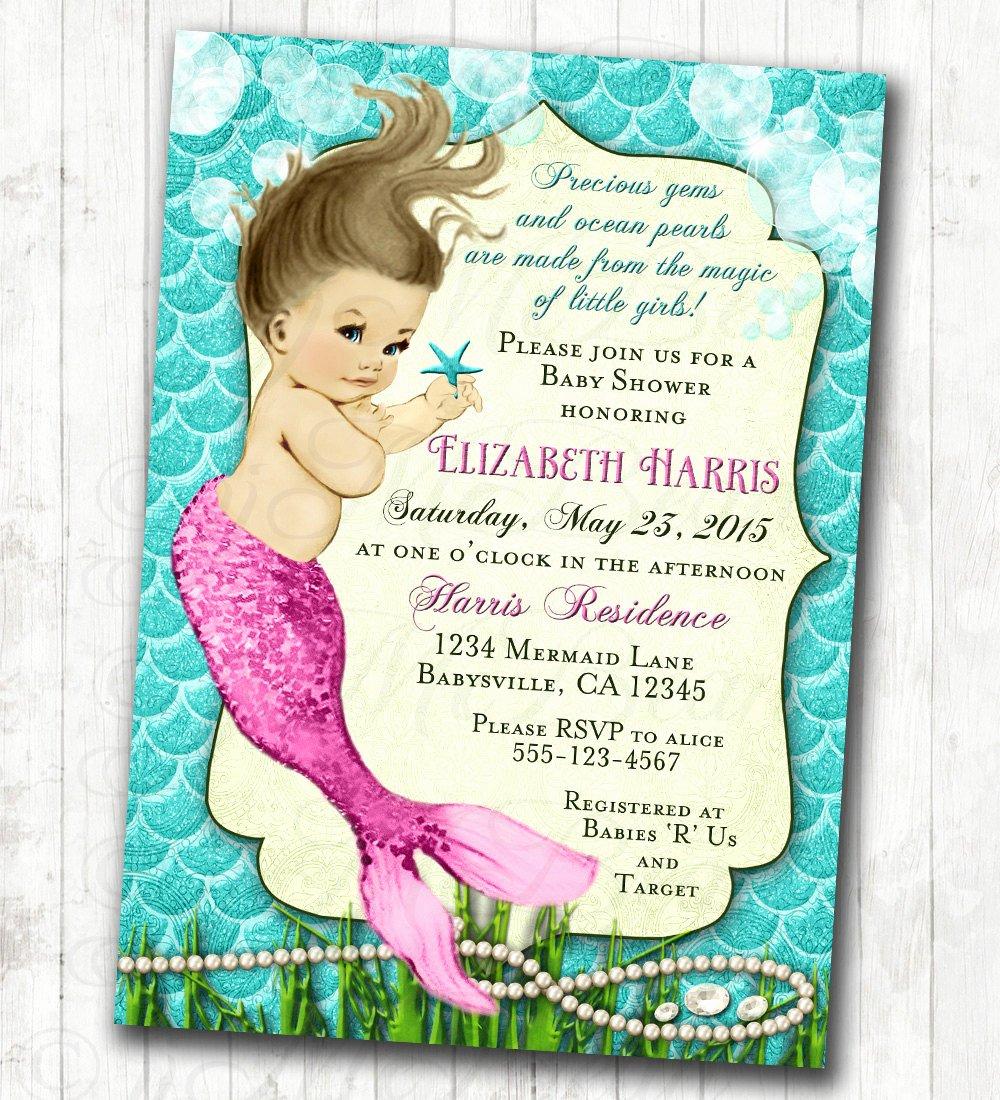 Mermaid Baby Shower Invitations Unique Mermaid Baby Shower Invitation Little Mermaid Ocean Baby