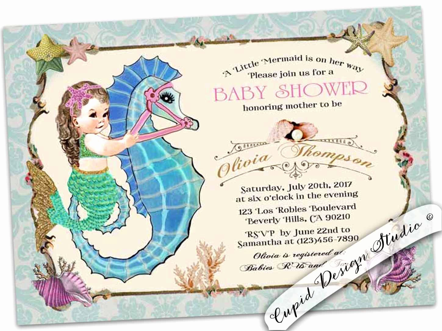Mermaid Baby Shower Invitations Unique Mermaid Baby Shower Invitation Mermaid Girl Baby Shower