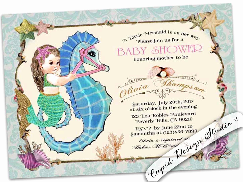 Mermaid Baby Shower Invitations Unique Mermaid Baby Shower Invitation Mermaid Girl Baby Shower