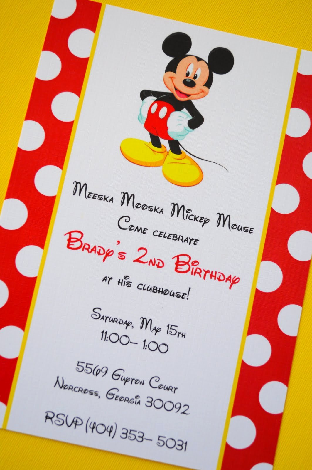 Mickey Mouse Birthday Invites Awesome Mickey Mouse Birthday Invitations Ideas and Template