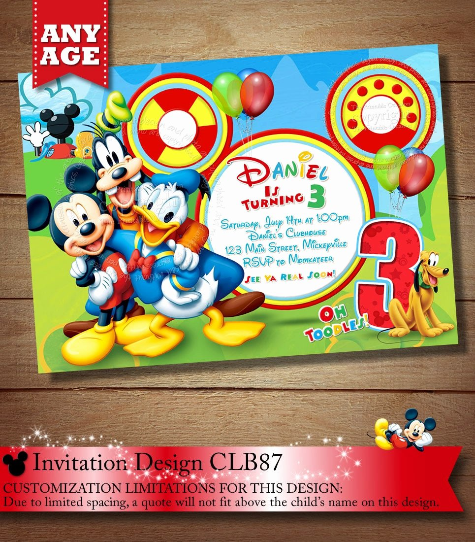 Mickey Mouse Birthday Invites Awesome Mickey Mouse Clubhouse Invitation Mickey Invitation Mickey